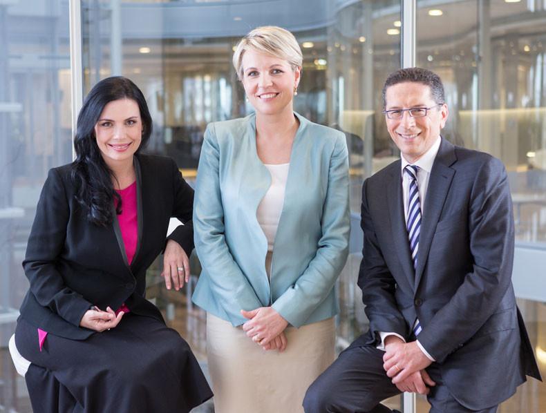 Vanessa Stoykov, Tanya Plibersek & Alex Malley on set of The Bottom Line